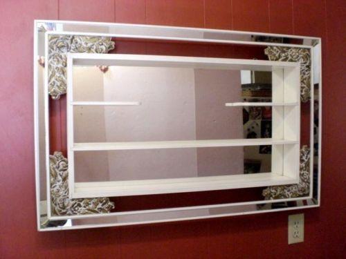 Vintage Mirrored Wall Shadow Box Curio Shelf Roses