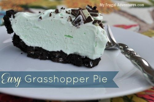 Simple grasshopper pie recipe. This is cool, minty, chocolate goodness ...