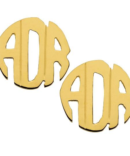 West Avenue Jewelry Block Monogram Earrings