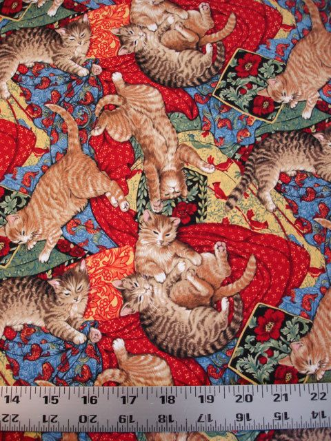 Cats on Quilts Red Peggy Toole for Robert Kaufman Fabric (1 Yard) Rare OOP (C-44). $12.00, via Etsy.