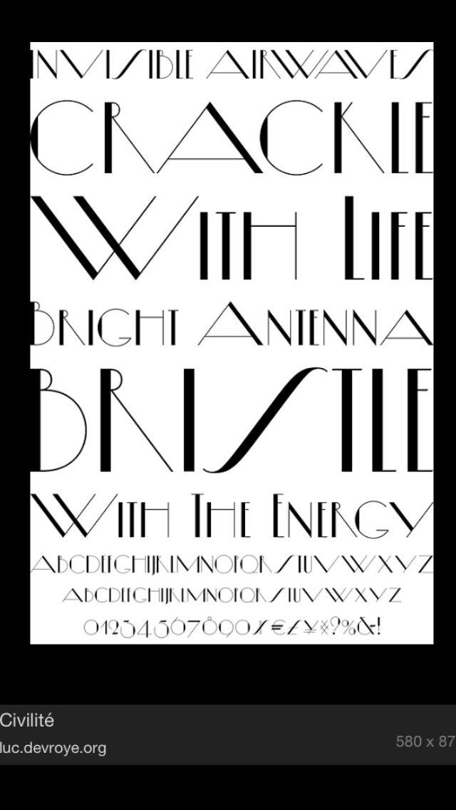 Art Deco Font Wedding Stationary Pinterest