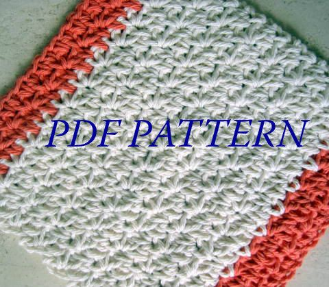 Crochet Patterns For Cotton Yarn : PDF PATTERN - Two Toned Crochet Dishcloth / Washcloth ...