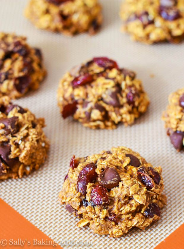 Low Fat Pumpkin Spiced Chocolate Chip Cookies - no butter, oil, and ...