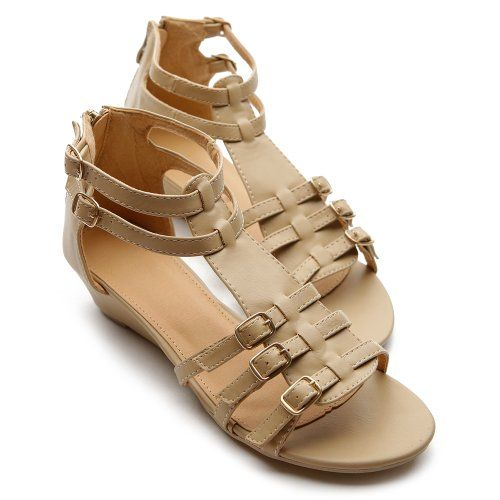Ollio Womens Shoes Gladiator Wedge Low Heels Ankle-Strap Multi Colored