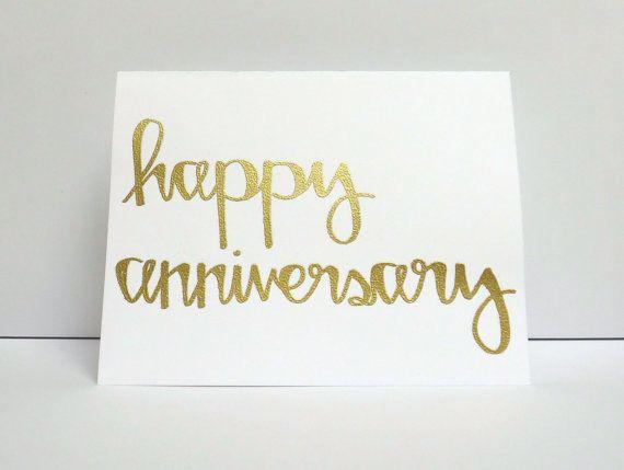 Happy anniversary modern calligraphy heat embossed