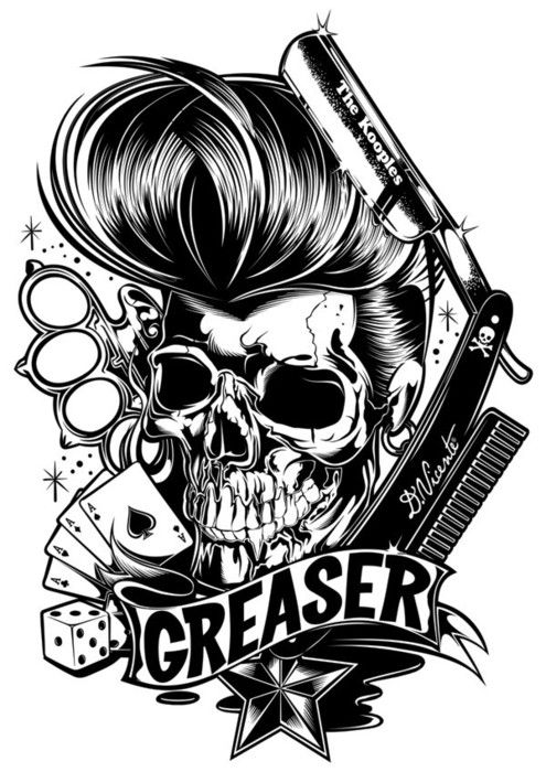 greaser tattoos greaser skull pinterest. Black Bedroom Furniture Sets. Home Design Ideas