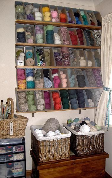 magazine holders to store yarn :)