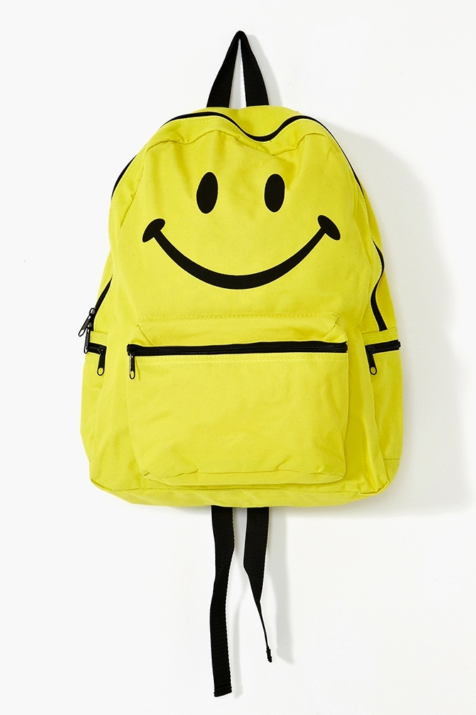 nasty gal, accessories, backpacks, bags, patterns, smiley faces, yellow, black