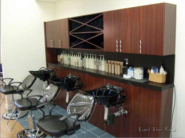 Liquid salon custom shampoo cabinet salon design for Armoire salon design