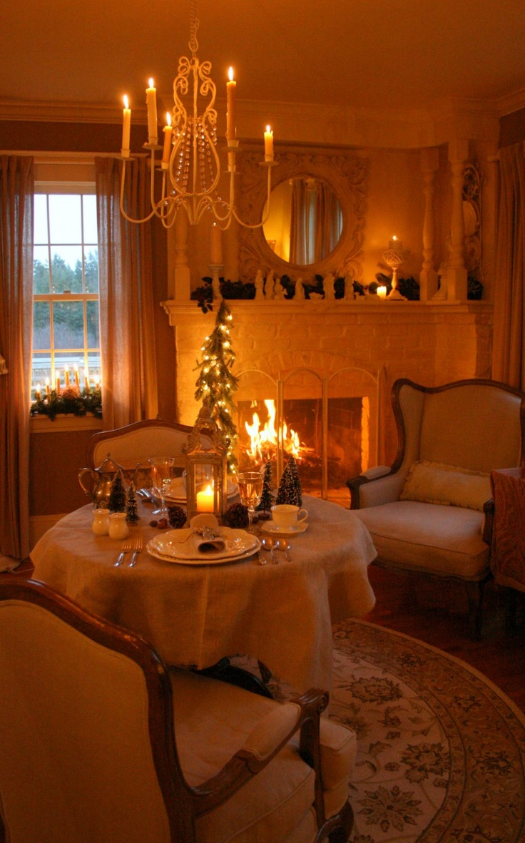 Dinner by the fire for two. This would be lovely, especially if it was snowing outside.