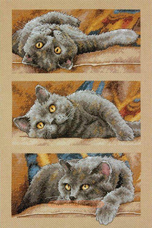 Вышивки крестом кошки фото 11
