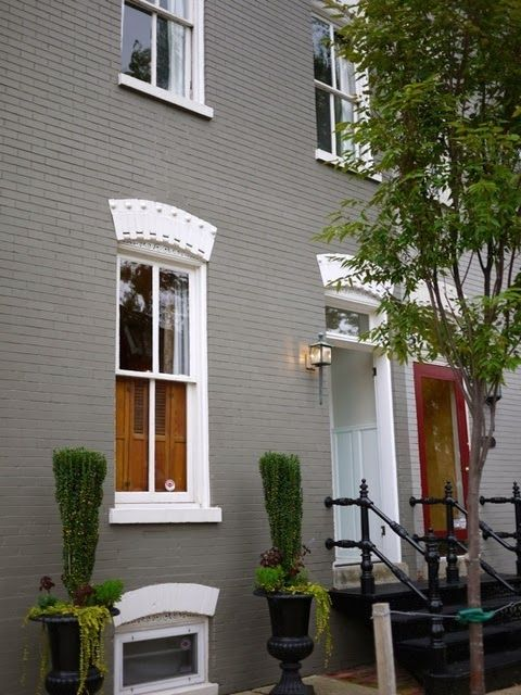 Gray painted brick house house update pinterest - Exterior painted brick houses image ...