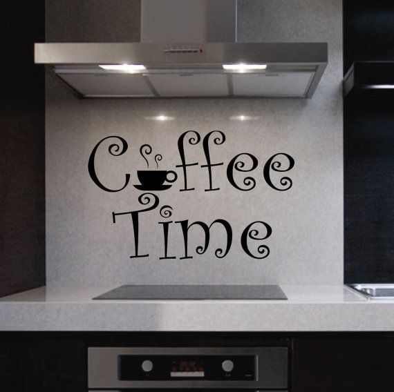 Vinyl wall lettering quotes decals kitchen coffee time cup for Kitchen wall sayings vinyl lettering