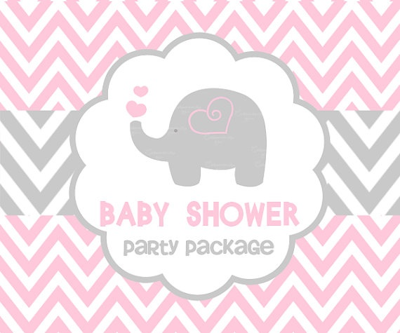 baby shower pink elephant party package by ceremoniaglam