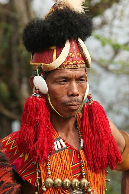 India - Nagaland.     Konyak Naga at Longmein village.