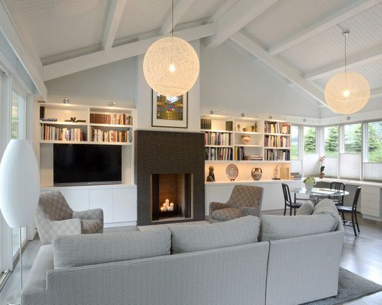 living room sloped ceiling for the home pinterest