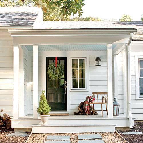 Simple farmhouse side porch Farmhouse Renovations