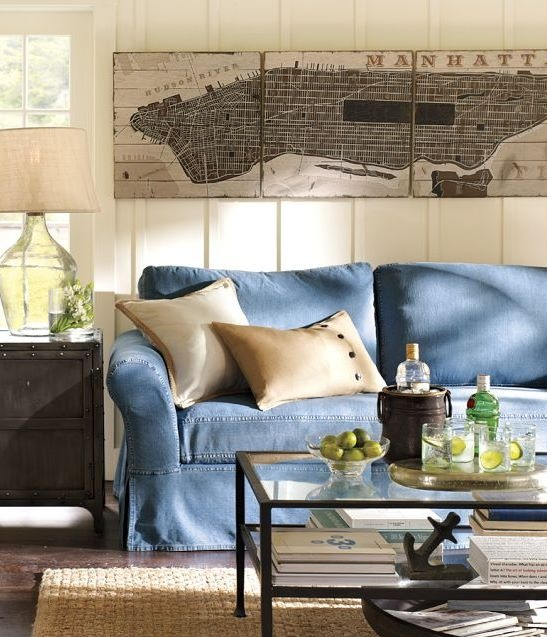 sofá jeans decoração decor