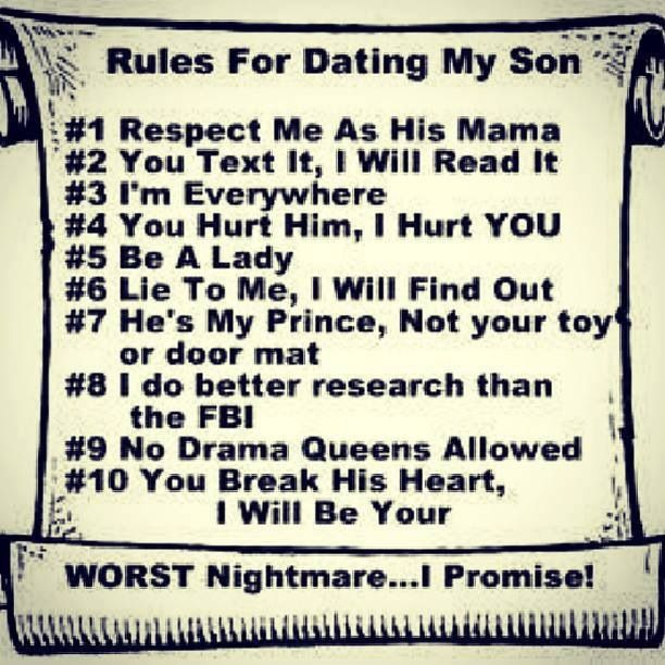 Rules For Dating My Son by laurienrowan Meme Center