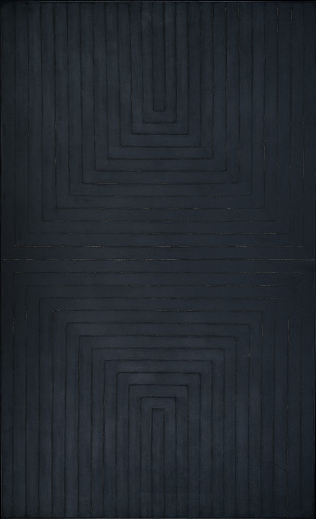 The black paintings 1959 frank stella contemporary for Frank stella peinture