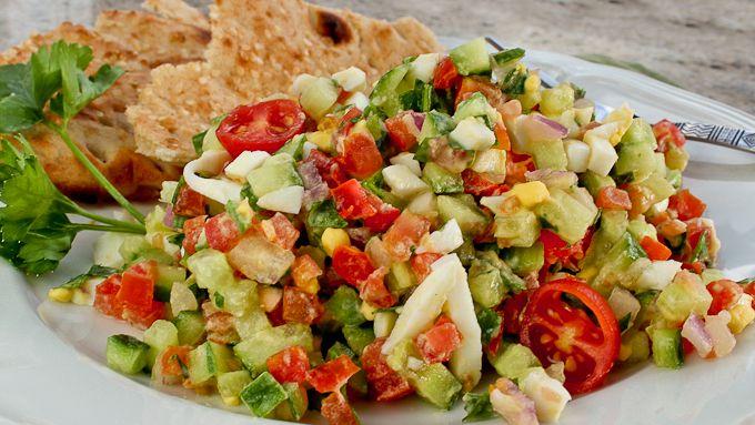 Israeli Salad w/tahini dressing | to eat | soups+salads | Pinterest