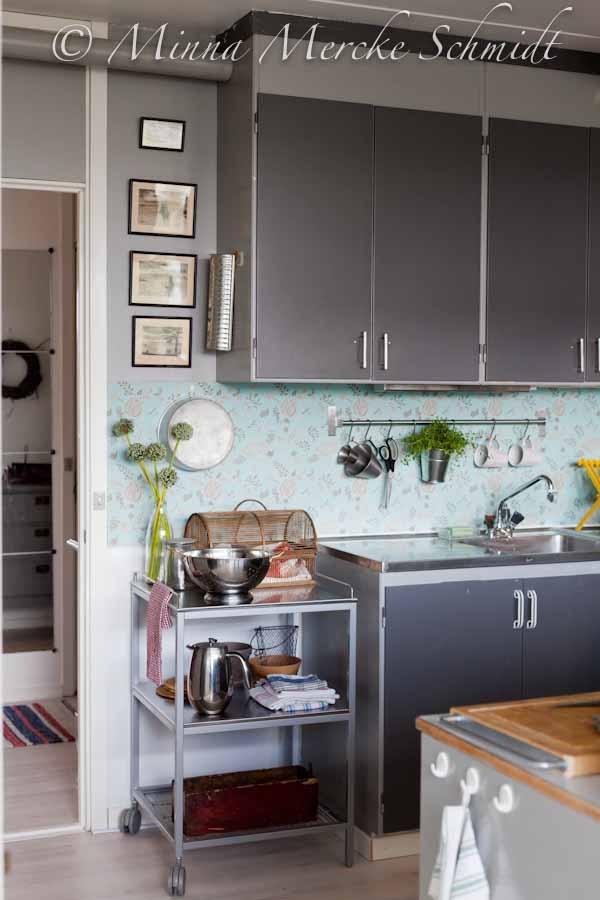 Carta da parati lavabile per rivestire lo schienale in cucina... /@Blomsterverkstad
