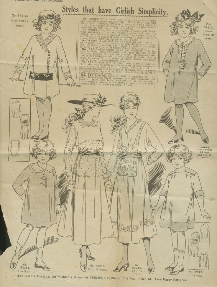 Girl and young women's fashions 20s
