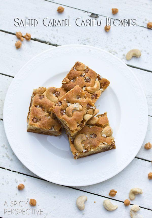 Salted Caramel Cashew Blondies Recipe | ASpicyPerspective.com # ...