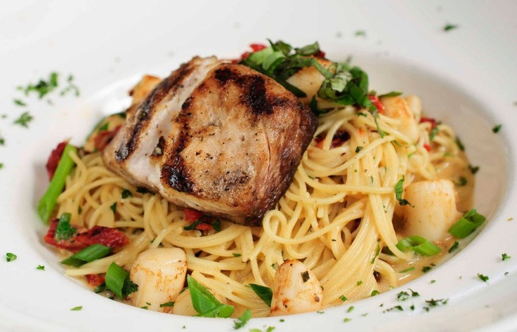 Seafood Pasta: Grilled striped bass served over capellini ...