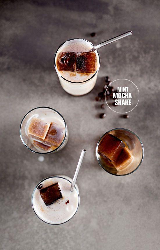 mint mocha shake. coffee ice cubes & almond breeze