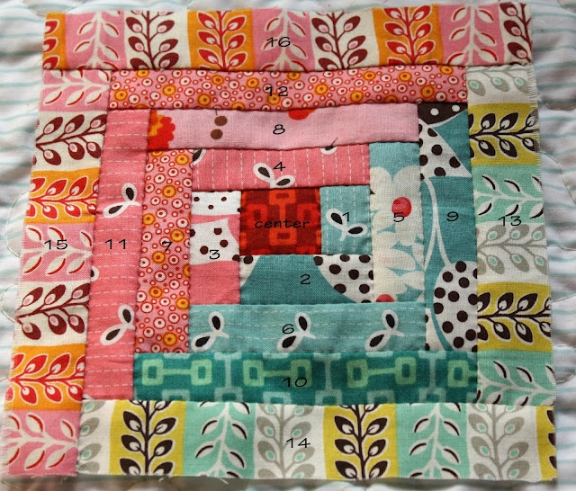 Sewing order of log cabin pieces