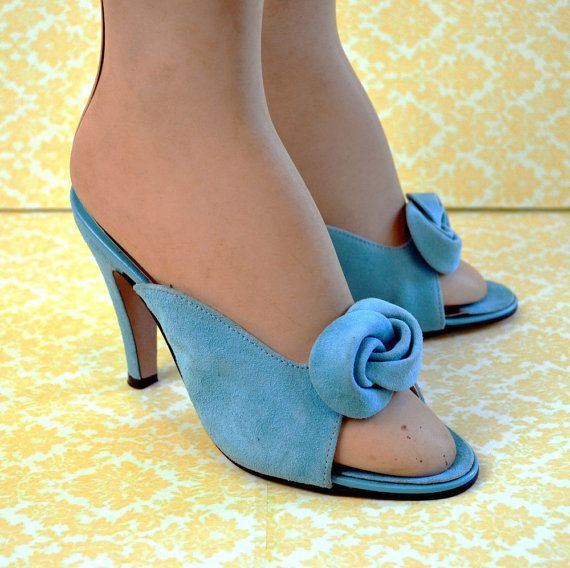 Vintage Pinup Shoes - Aqua Leather - Stiletto Heels - 7 7.5 - New Old