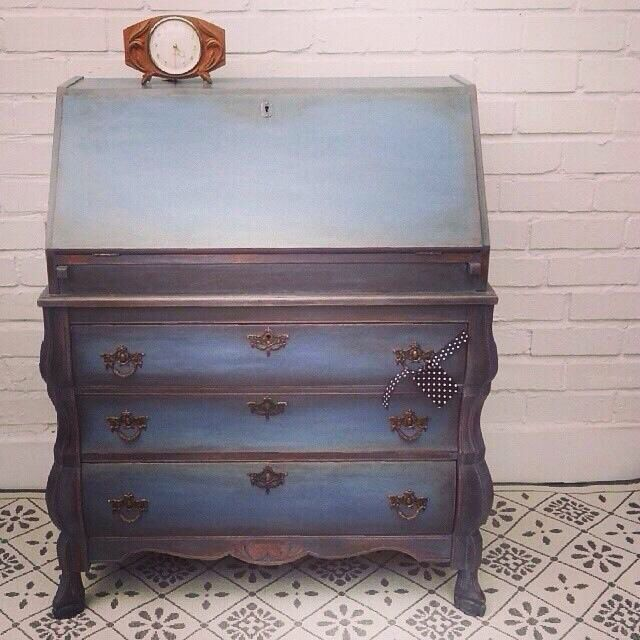 Desk painted with Annie Sloan old violet