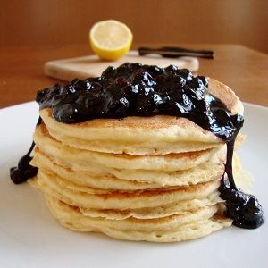 Lemon Ricotta Pancakes with Blueberry Sauce - Real Food Real Deals