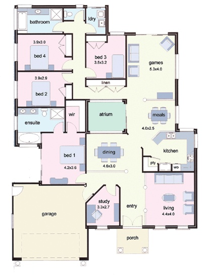 Atrium 2000 floor plan house plans pinterest for House plans with atrium in center