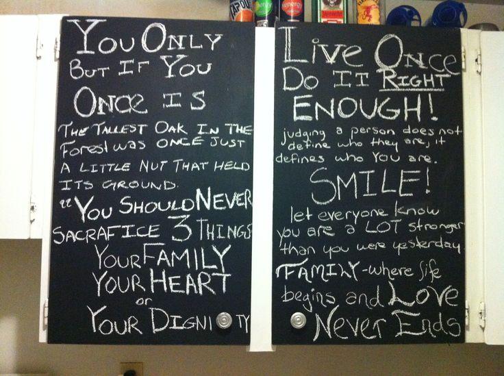 Chalk board cupboards in kitchen!