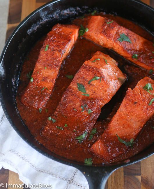 Salmon Steaks With Spicy Tomato Sauce Recipe — Dishmaps