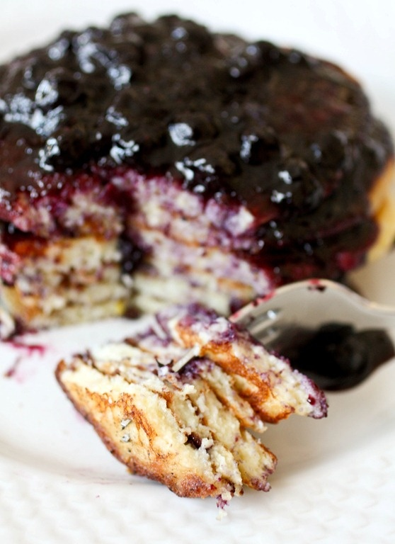 Nutmeg Nanny » Lemon Ricotta Pancakes with Blueberry Sauce