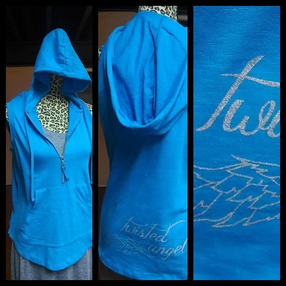 Blue #Twisted #Angel #Sleeveless #Hoodie with front #pocket by