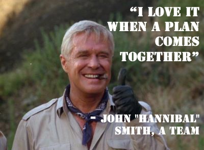 "love it when a plan comes together""-- John ""Hannibal"" Smith, A Team ..."
