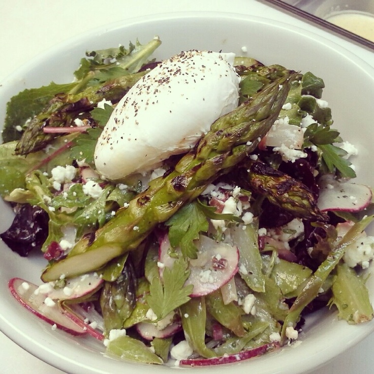 Grilled asparagus salad. Mixed greens, pickled ramps, shaved radishes ...