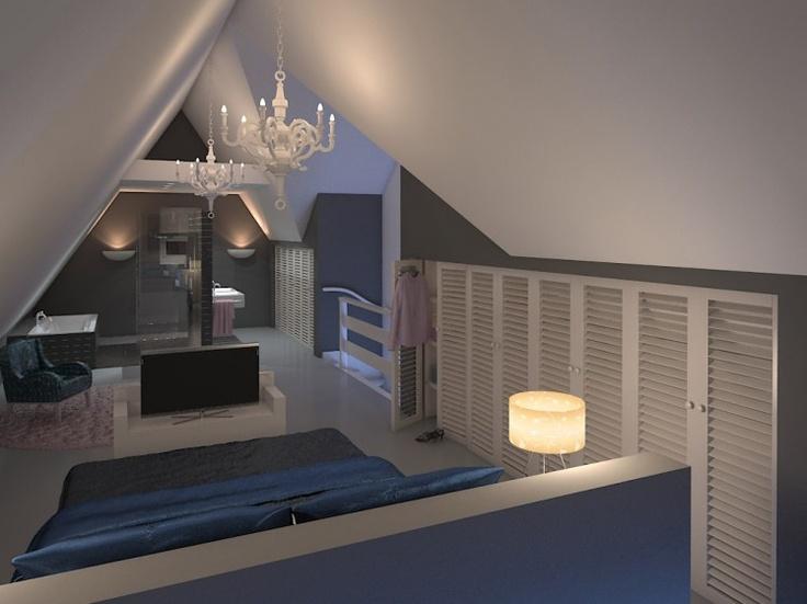 Nice Small Room Blue White Attic Room Pinterest