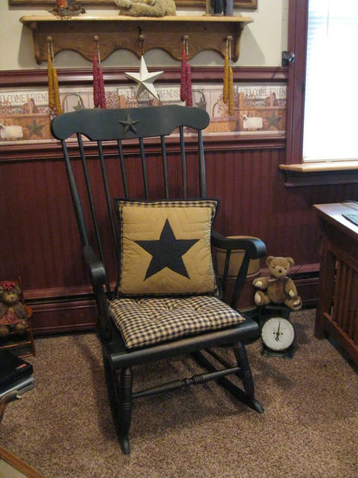 Primitive Rocking Chair  Country Home ideas  Pinterest