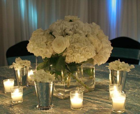 Beautiful hydrangea and rose centerpieces :  wedding hydrangea rose white Small Centerpiece