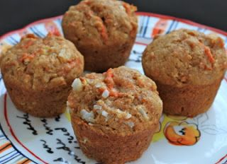 Whole grain morning glory muffins with cream cheese glaze | Recipe