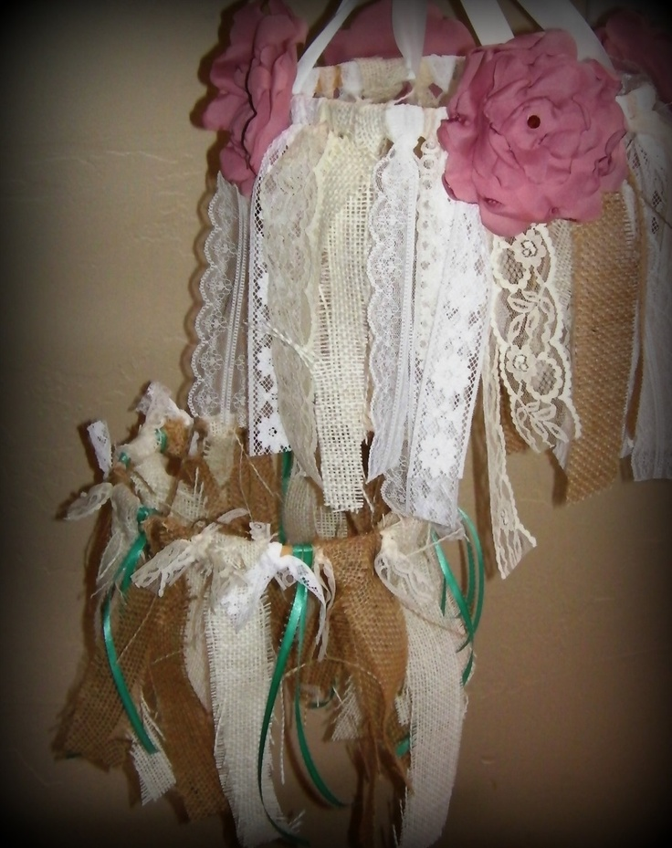 Burlap and Lace Ribbon Mobile Wedding or Nursery Decor by RIandPI, $35 ...