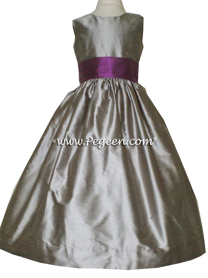 Gray purple flower girls dress heathers wedding for Purple and grey wedding dresses