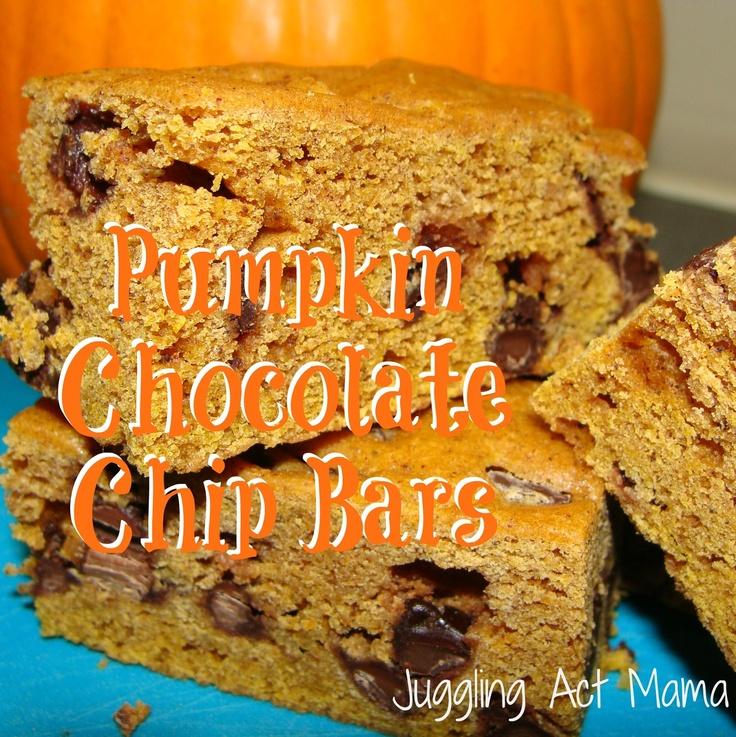Pumpkin Chocolate Chip Bars | BrownieS & BARs | Pinterest