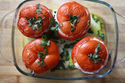 Mm. Mint pesto & egg-stuffed tomatoes. Never tried mint pesto before!