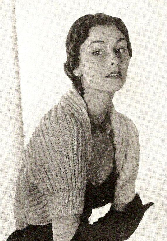 Free Vintage Vogue Knitting Patterns : 1950 Vogue Shrug Vintage Knitting Pattern 347